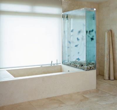 बाथरूम को लक्जरी और शानदार लुक देने के लिए भी आप एक्वेरियम वहां लगवा सकते हैं।