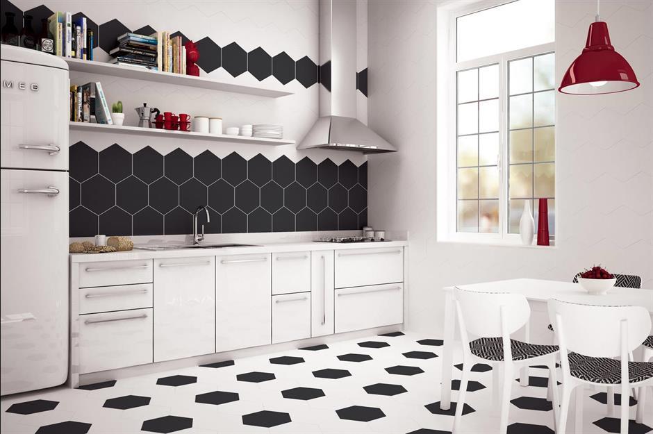 ब्लैक एंड व्हाइट स्ट्रिप लिनोलियम डिजाइन (Black and White Stripe Linoleum Design)