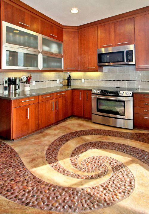 पेबल स्टोन टाइल्स (pebble tile) से किचन को दें यूनिक लुक।