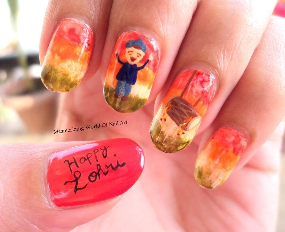 आप ढोल-नगाड़ों के नेल आर्ट भी ट्राई कर सकती हैं। (Picture Credit: Mesmerizing World Of Nail Art)