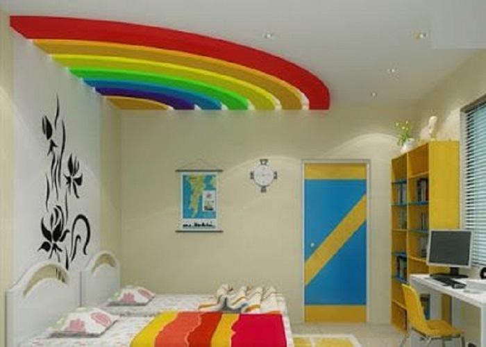 सात रंगों का रेनबो कमरे की छत पर बना भी बेहद अट्रैक्टिव लगेगा।