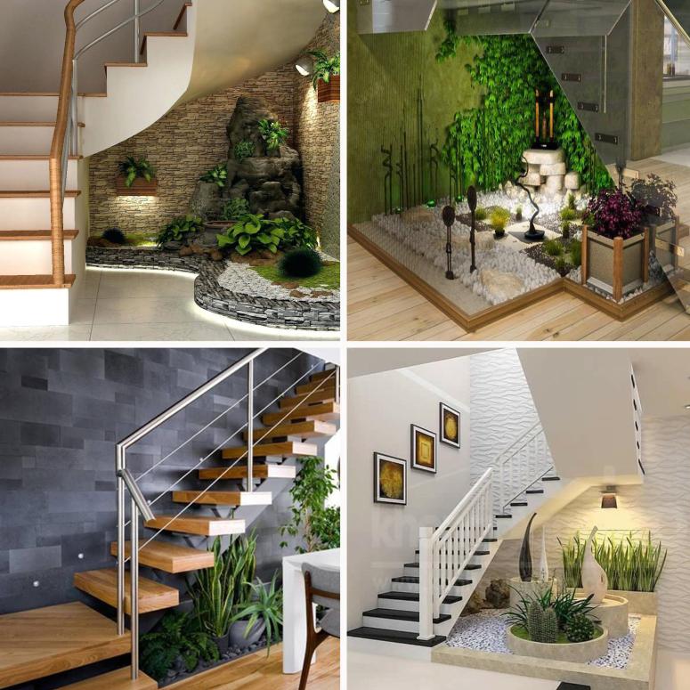 सीढ़ियों के नीचे इंडोर प्लांट्स लगाकर आप मिनी गार्डन क्रिएट करवा सकते हैं।