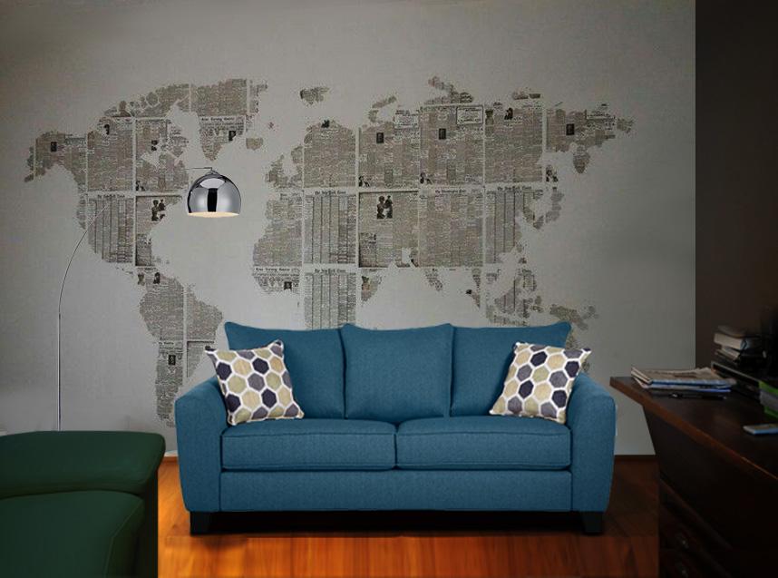 अखबार के उपयोग से दुनिया का नक्शा बनाकर आप बोरिंग दीवार पर क्रिएटिविटी दिखा सकते हैं। आप इसे बच्चों के कमरे पर भी बना सकते हैं।