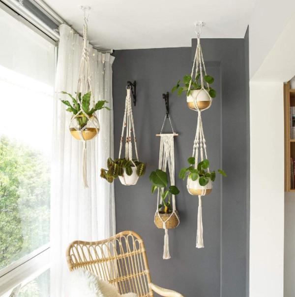 पौधे कमरे को ठंडक और ताजगी का अहसास करवाते है लेकिन हैंगिग पॉट को सजाने के लिए आप मैक्रैम यूज कर सकते हैं।