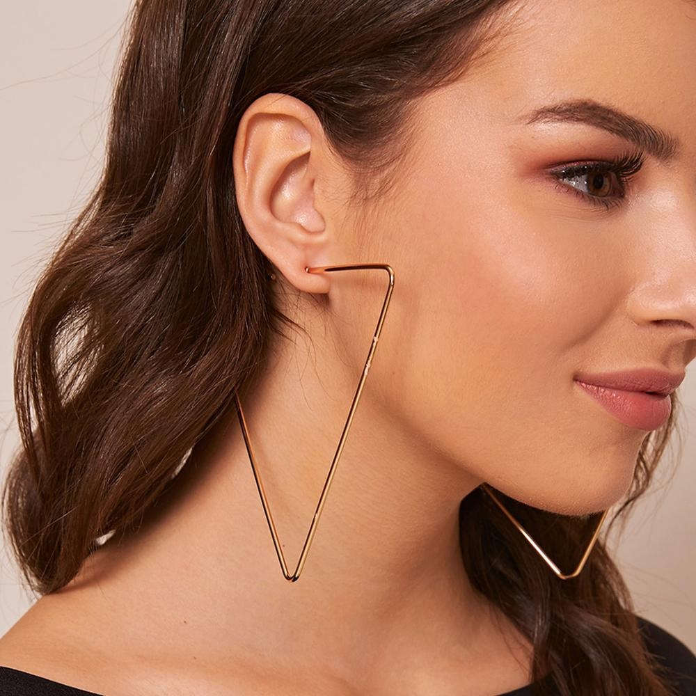 Copper color oversized triangle earrings