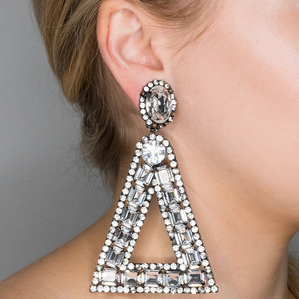 White stone oversized triangle earrings