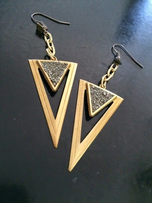 Golden and Shimmer oversized triangle earrings