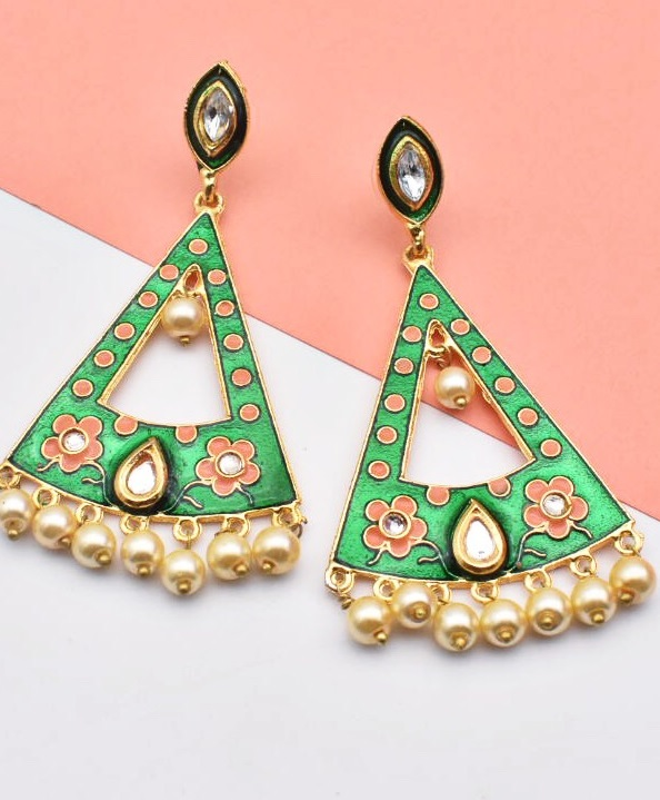 Meenakari oversized triangle earrings