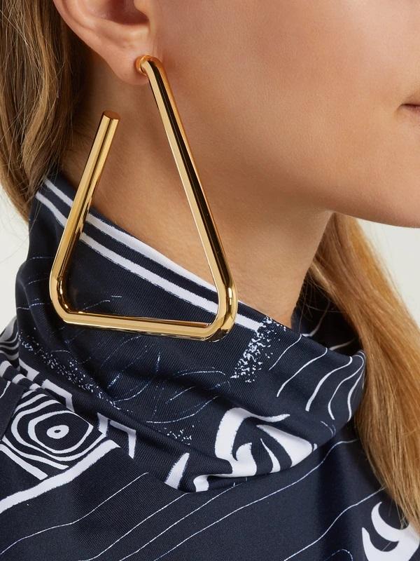 Golden colour oversized triangle earrings