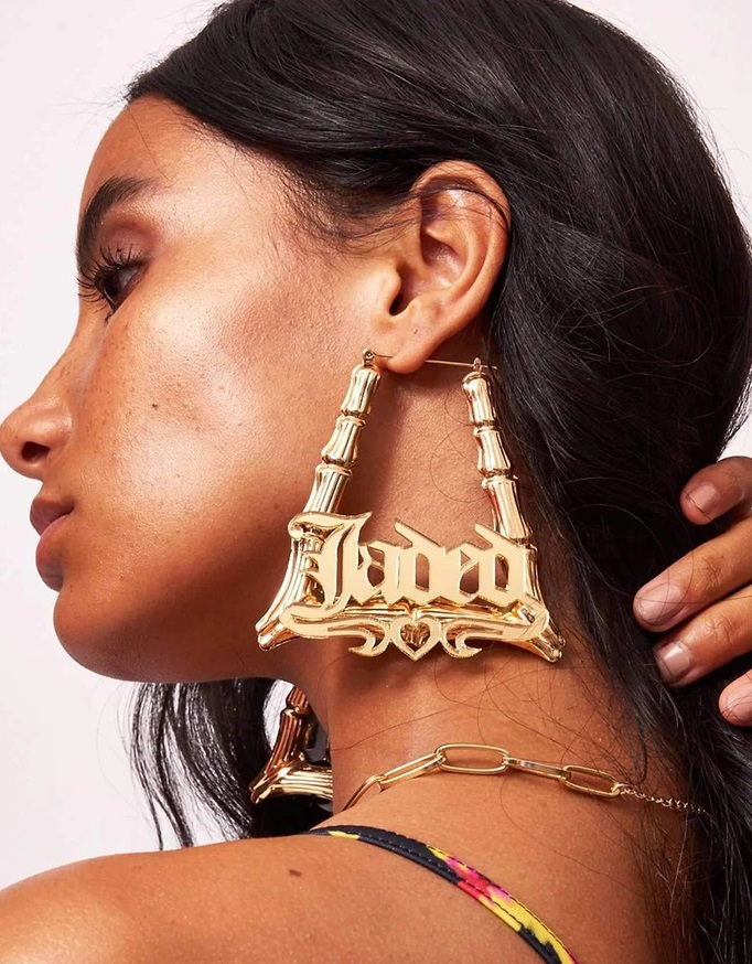 Name style oversized triangle earrings