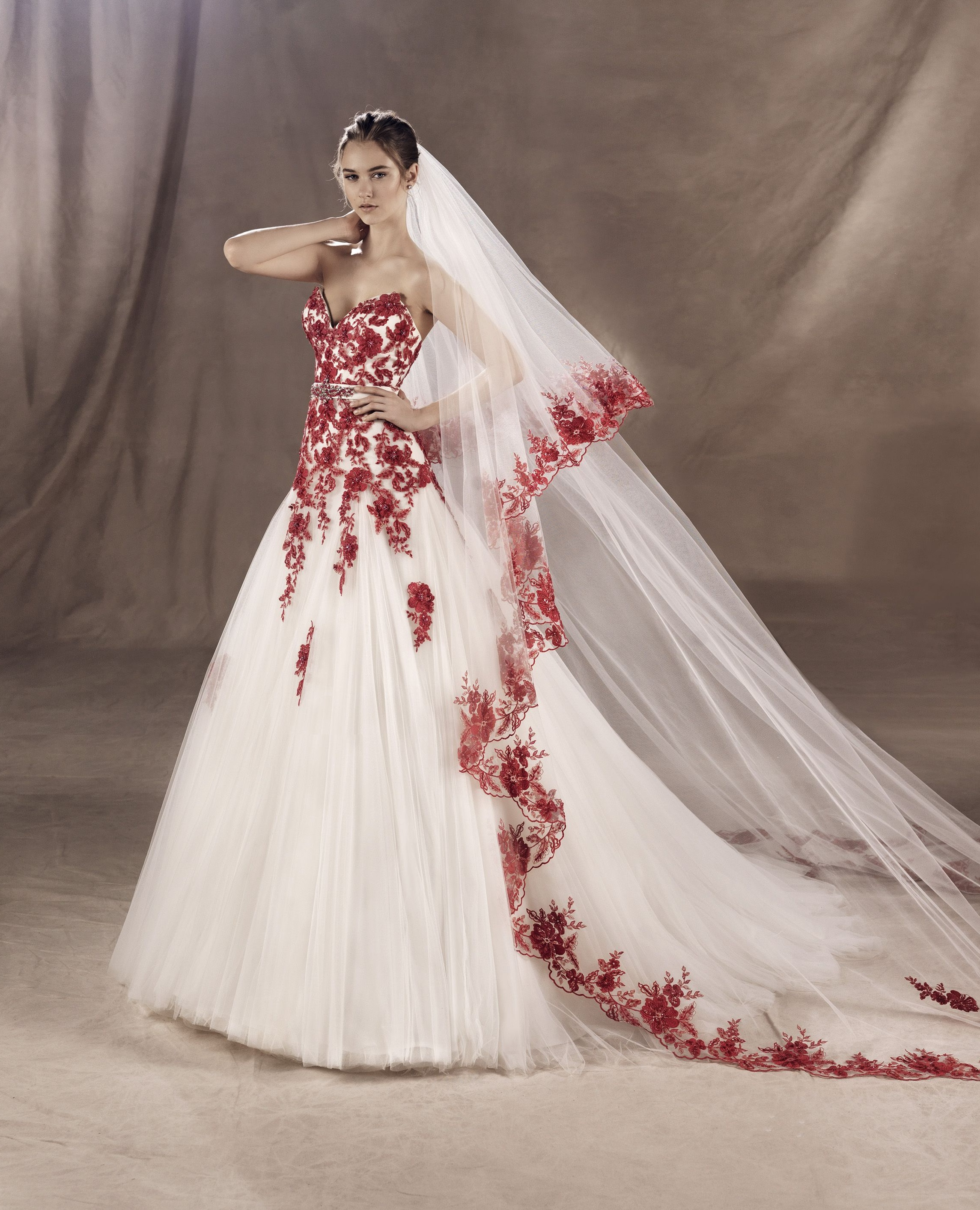 White Gown with red embroidery