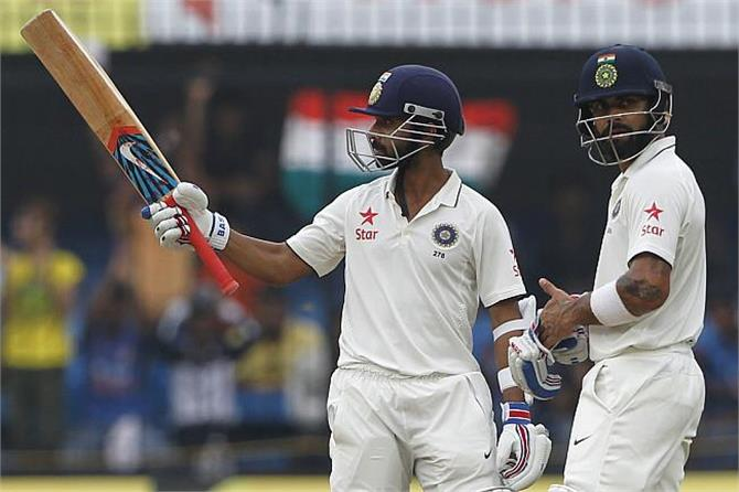 कोहली और रहाणे की रन मशीन चली, भारत ने पांच विकेट पर 557 रन बनाए