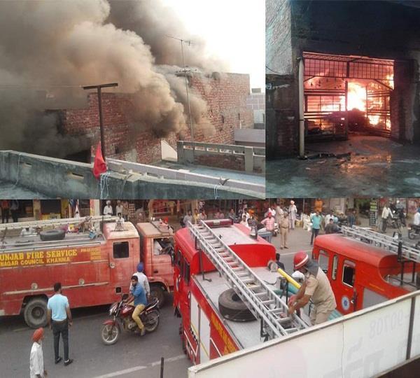 भादसों में खद्दर भंडार को लगी आग से लाखों रुपए का नुक्सान