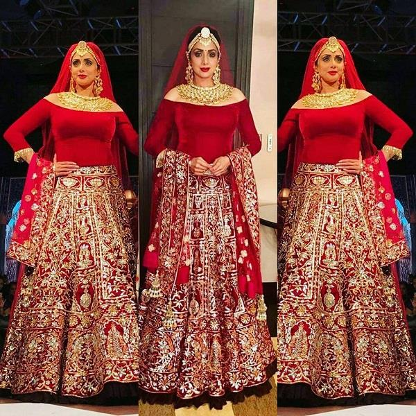 diva sridevi looks beautiful in a bridal wear