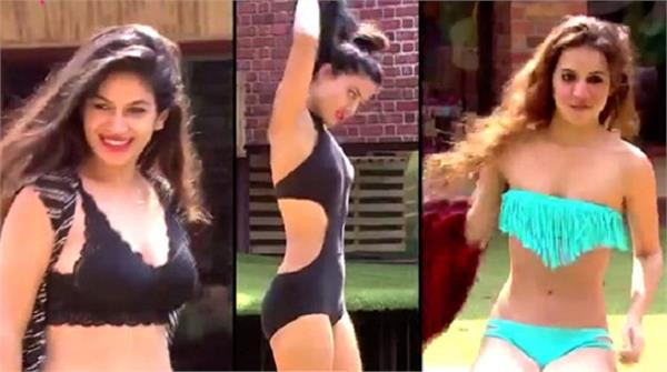 bigg boss 11 bikini babes swimming pool