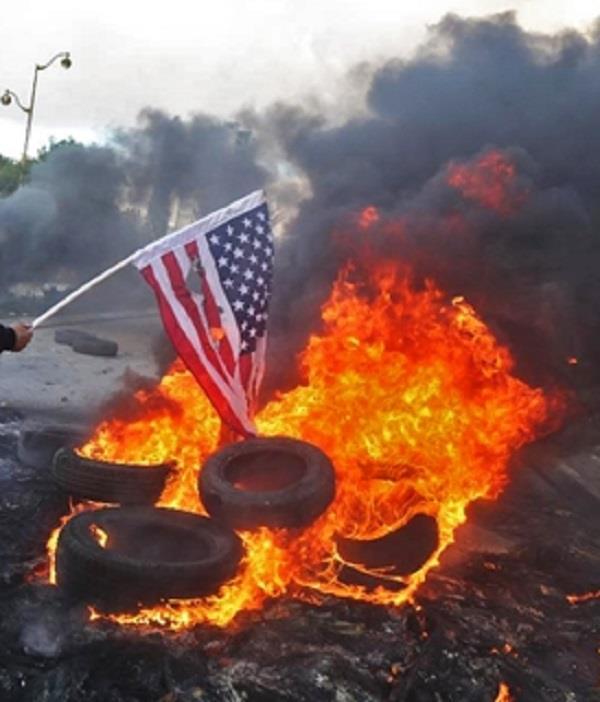 नमाजियों ने फूंके अमरीका व इस्राइल के राष्ट्रीय ध्वज
