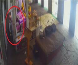 माथा टेकने के बहाने युवक ने चुराया बेशकिमती छत्र, वारदात CCTV में कैद