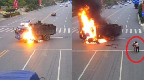 ट्रक से टकराकर हुआ बाइक सवार का ये हाल, वीडियो देख कांप जाएगी रुह