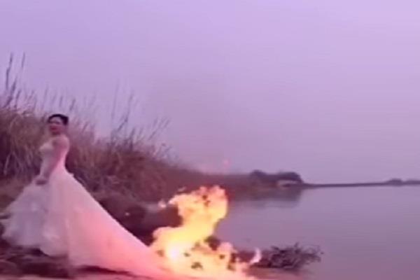परफेक्ट फोटो के लिए दुल्हन ने किया खतरनाक स्टंट, वीडियो Viral