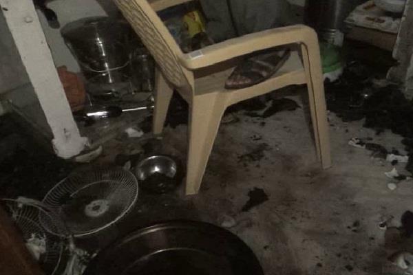 गैस सिलेंडर की लीकेज से लगी आग, रसोईघर का सारा सामान जलकर राख