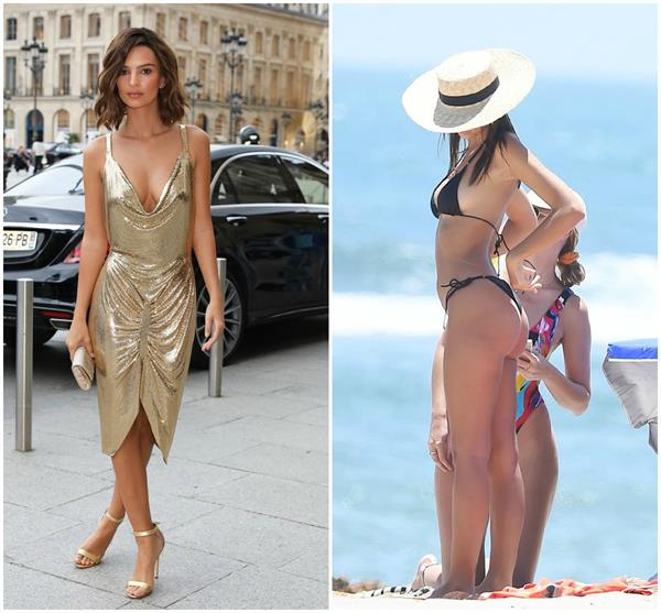 golden girl emily ratajkowski goes braless