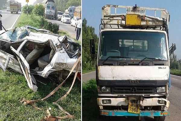 कार अौर टैंकर में टक्कर, एक ही परिवार के 3 लोगों की मौत