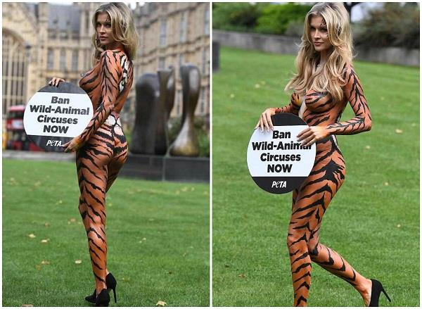 joanna krupa strips to tiger body paint