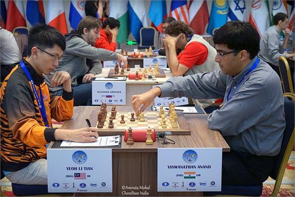 फीडे विश्व शतरंज कप - आनंद समेत पाँच भारतीय अगले दौर में