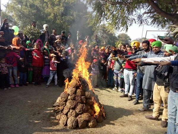 थर्मल मुलाजिमों ने मोर्चे में मनाई 'संघर्ष की लोहड़ी'