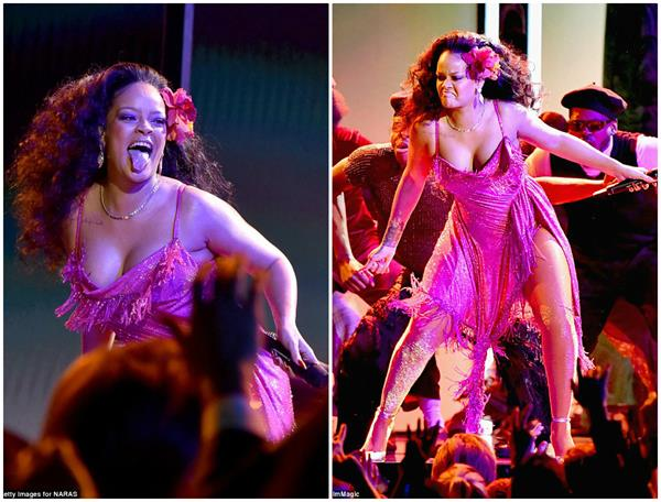 rihanna almost falls out of her dress