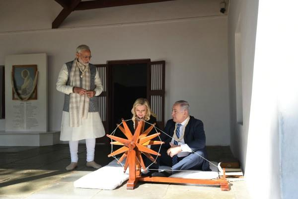 गुजरात में नेतन्याहू ने दिया 'जय हिंद', जय भारत और 'जय इसराईल' का नारा
