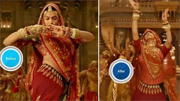 padmaavat deepika padukone midriff is now covered in ghoomar without shoot watch