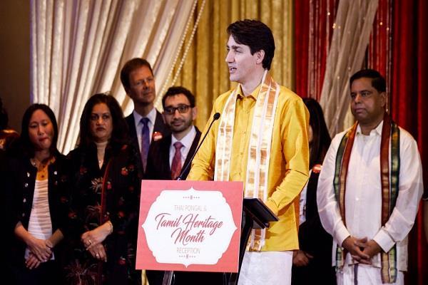 धोती-शर्ट पहन कर कनाडा के प्रधानमंत्री ने मनाया पोंगल