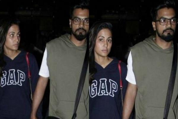 without makeup hina khan spotted with rocky
