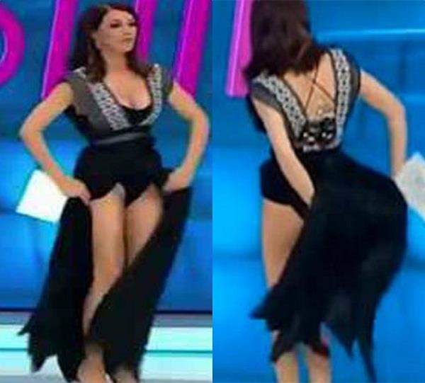 live show anchor lifts her dress