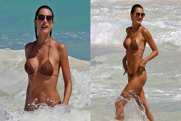 alessandra ambrosio shows off her figure in skimpy knitted bikini