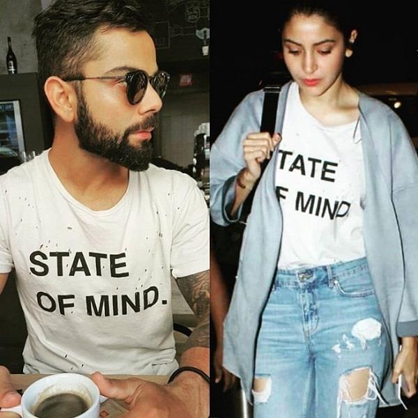 anushka sharma wear same t shirt of virat kohli