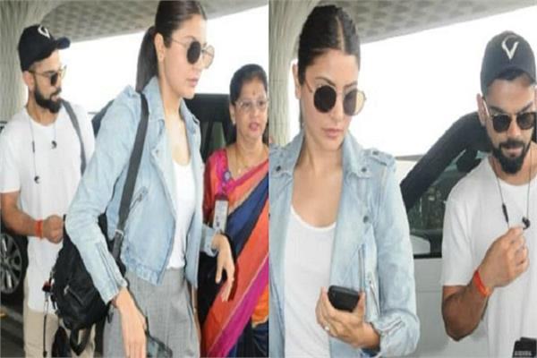 anushka sharma and virat kohli spotted at mumbai airport