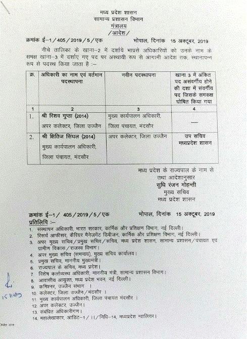 PunjabKesari, Madhya Pradesh News, Bhopal News, Transfer Posting, Indian Administrative Service, Ujjain