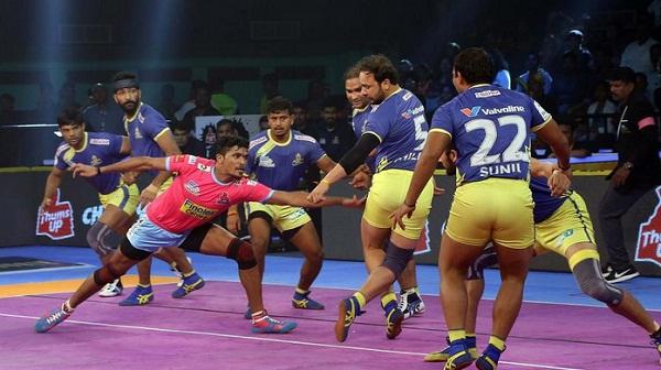 Sports news, Kabaddi news in hindi, Pro Kabaddi League 2018, Pink Panthers, defeated, Tamil Thalivas, exciting match