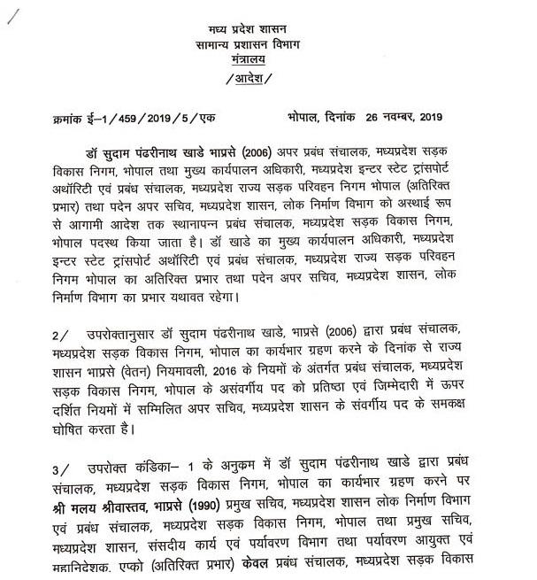 PunjabKesari, Madhya Pradesh News, Bhopal News, Transfer Posting, Kamal Nath Government, List