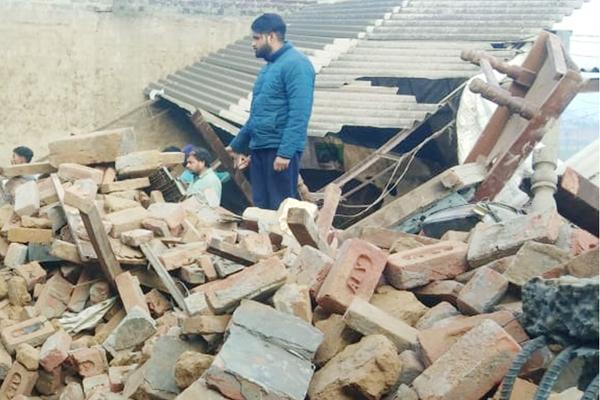 PunjabKesari, Dropped shad of dairy farm; 3 dozen milch animals buried under debris