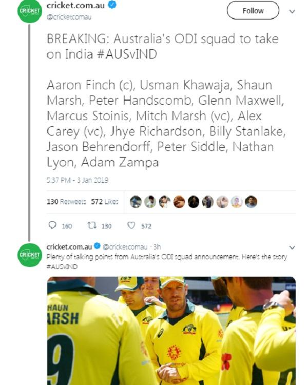 Cricket news in hindi, Australia Team, 3 ODI, Team announced, 14 members squad
