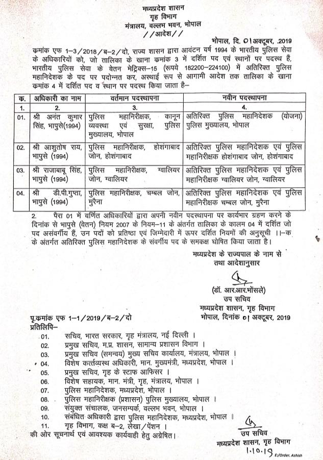 PunjabKesari, Madhya Pradesh News, Bhopal News, Transfer Posting, Bhopal, Sagar, Gwalior, Indore, Police Department