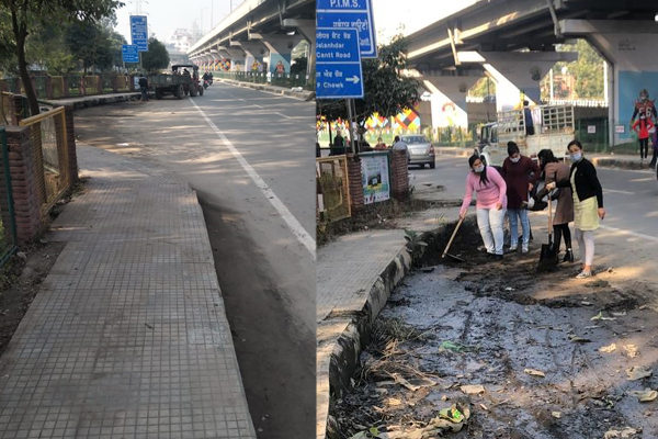 PunjabKesari, College students cleaned roads even with mud