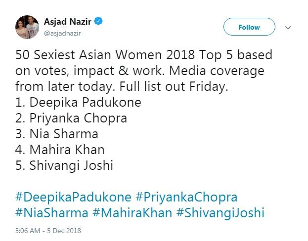PunjabKesari, एशिया की सबसे सेक्सी महिलाएं इमेज, हिना खान इमेज, शिवांगी जोशी इमेज, निया शर्मा इमेज, प्रियंका चोपड़ा इमेज, दीपिका पादुकोण इमेज