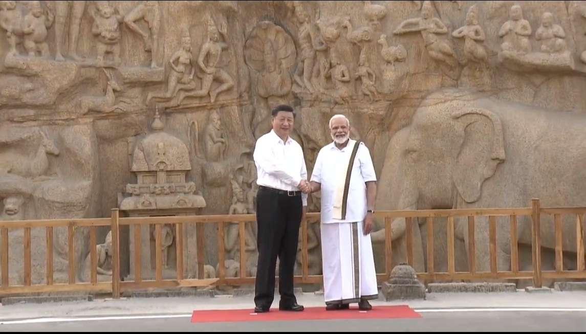 Pm Modi, Xi Jinping, Tamilnadu Mahaibalipuram, महाबलीपुरम, Shore Temple in Mahabalipuram, शोर मंदिर महाबलीपुरम,  Punjab Kesari,