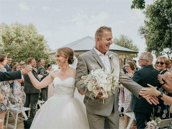 australia wedding guests wear blindfolds in support of blind bride