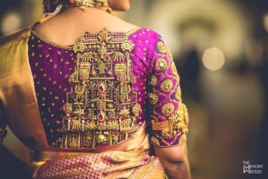 PunjabKesari, Back lessEmbroidery with backneck blouse, हैवी इम्ब्रॉयडरी विद बैकनेक ब्लाउज