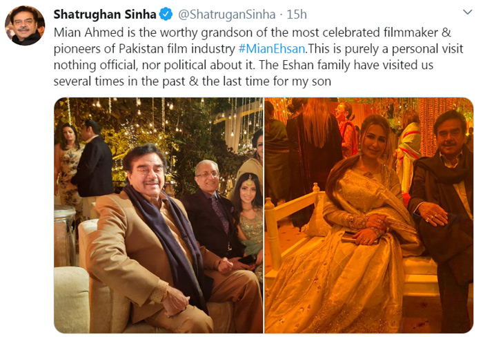 Image result for shatrughan-sinha-meets-pakistan-president-arif-alvi-in-lahore
